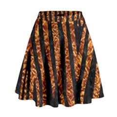 Skin4 Black Marble & Copper Foil (r) High Waist Skirt