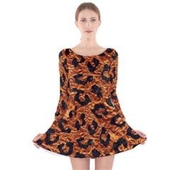 Skin5 Black Marble & Copper Foil Long Sleeve Velvet Skater Dress