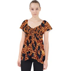Skin5 Black Marble & Copper Foil Lace Front Dolly Top