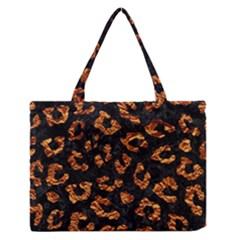Skin5 Black Marble & Copper Foil (r) Zipper Medium Tote Bag