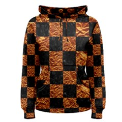 Square1 Black Marble & Copper Foil Women s Pullover Hoodie