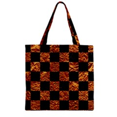 Square1 Black Marble & Copper Foil Zipper Grocery Tote Bag