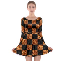 Square1 Black Marble & Copper Foil Long Sleeve Skater Dress