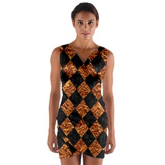 Square2 Black Marble & Copper Foilsquare2 Black Marble & Copper Foil Wrap Front Bodycon Dress