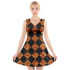 Square2 Black Marble & Copper Foilsquare2 Black Marble & Copper Foil V Neck Sleeveless Skater Dress