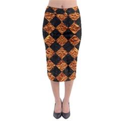 Square2 Black Marble & Copper Foilsquare2 Black Marble & Copper Foil Midi Pencil Skirt