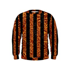 Stripes1 Black Marble & Copper Foil Kids  Sweatshirt