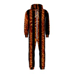 Stripes1 Black Marble & Copper Foil Hooded Jumpsuit (kids)