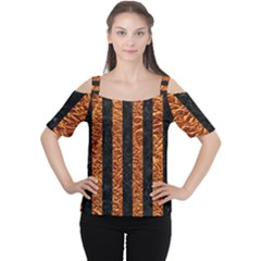 Stripes1 Black Marble & Copper Foil Cutout Shoulder Tee