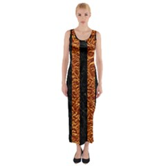 Stripes1 Black Marble & Copper Foil Fitted Maxi Dress