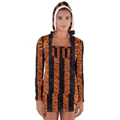 Stripes1 Black Marble & Copper Foil Long Sleeve Hooded T Shirt