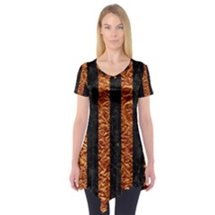 Stripes1 Black Marble & Copper Foil Short Sleeve Tunic
