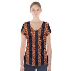 Stripes1 Black Marble & Copper Foil Short Sleeve Front Detail Top