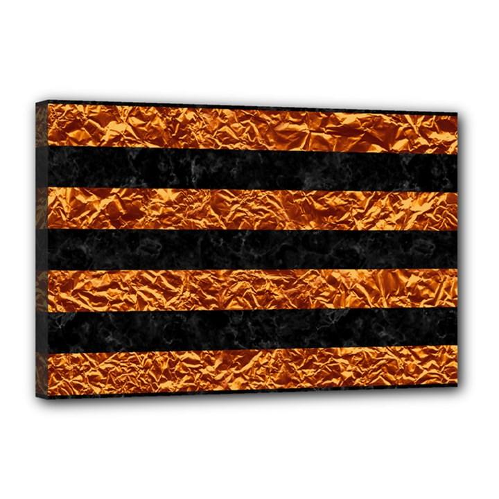 STRIPES2 BLACK MARBLE & COPPER FOIL Canvas 18  x 12