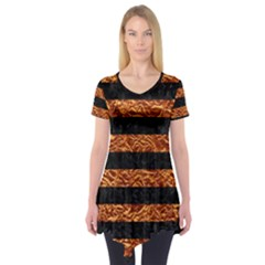 Stripes2 Black Marble & Copper Foil Short Sleeve Tunic