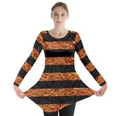 Stripes2 Black Marble & Copper Foil Long Sleeve Tunic