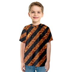 Stripes3 Black Marble & Copper Foil Kids  Sport Mesh Tee