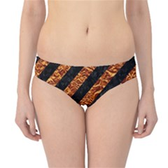 Stripes3 Black Marble & Copper Foil Hipster Bikini Bottoms