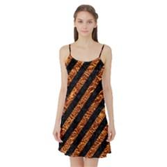 Stripes3 Black Marble & Copper Foil Satin Night Slip