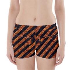Stripes3 Black Marble & Copper Foil Boyleg Bikini Wrap Bottoms