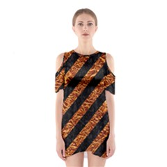 Stripes3 Black Marble & Copper Foil Shoulder Cutout One Piece