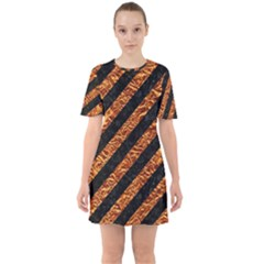 Stripes3 Black Marble & Copper Foil Sixties Short Sleeve Mini Dress