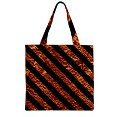 Stripes3 Black Marble & Copper Foil (r) Zipper Grocery Tote Bag