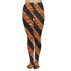 Stripes3 Black Marble & Copper Foil (r) Women s Tights