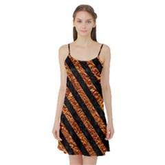 Stripes3 Black Marble & Copper Foil (r) Satin Night Slip