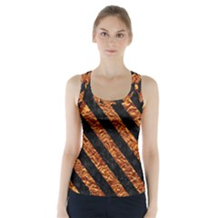 Stripes3 Black Marble & Copper Foil (r) Racer Back Sports Top