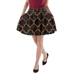 Tile1 Black Marble & Copper Foil A Line Pocket Skirt
