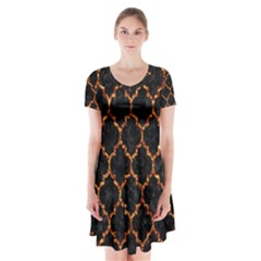 Tile1 Black Marble & Copper Foil Short Sleeve V Neck Flare Dress