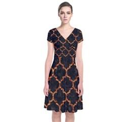 Tile1 Black Marble & Copper Foil Short Sleeve Front Wrap Dress