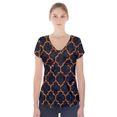 Tile1 Black Marble & Copper Foil Short Sleeve Front Detail Top