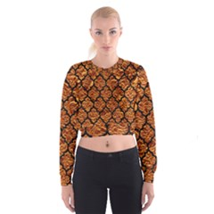Tile1 Black Marble & Copper Foil (r) Cropped Sweatshirt