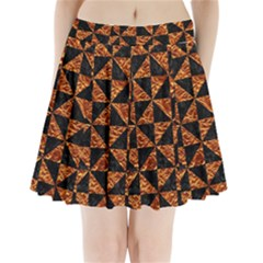 Triangle1 Black Marble & Copper Foil Pleated Mini Skirt