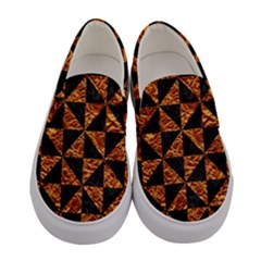 Triangle1 Black Marble & Copper Foil Women s Canvas Slip Ons