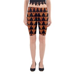 Triangle2 Black Marble & Copper Foil Yoga Cropped Leggings