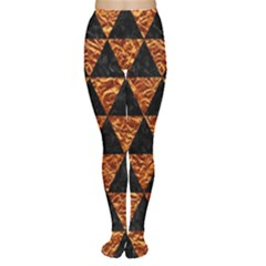 Triangle3 Black Marble & Copper Foil Women s Tights