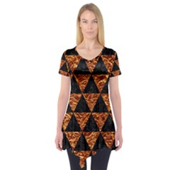 Triangle3 Black Marble & Copper Foil Short Sleeve Tunic