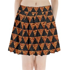 Triangle3 Black Marble & Copper Foil Pleated Mini Skirt