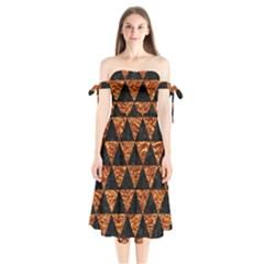 Triangle3 Black Marble & Copper Foil Shoulder Tie Bardot Midi Dress