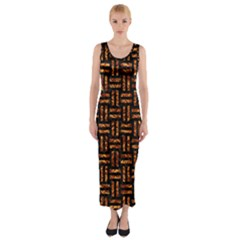 Woven1 Black Marble & Copper Foil Fitted Maxi Dress