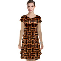 Woven1 Black Marble & Copper Foil (r) Cap Sleeve Nightdress
