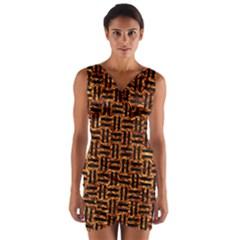 Woven1 Black Marble & Copper Foil (r) Wrap Front Bodycon Dress