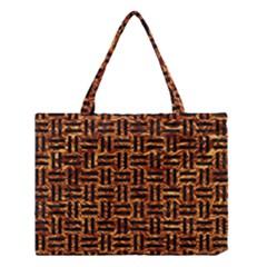 Woven1 Black Marble & Copper Foil (r) Medium Tote Bag
