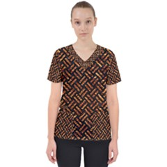 Woven2 Black Marble & Copper Foil Scrub Top