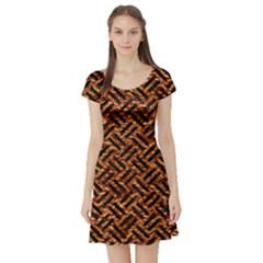 Woven2 Black Marble & Copper Foil (r) Short Sleeve Skater Dress