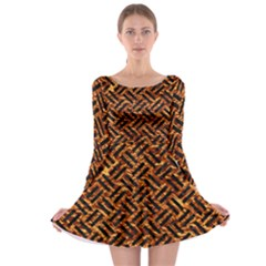 Woven2 Black Marble & Copper Foil (r) Long Sleeve Skater Dress