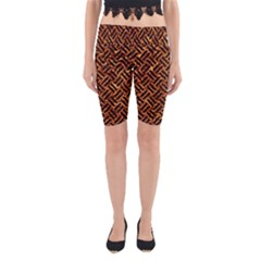 Woven2 Black Marble & Copper Foil (r) Yoga Cropped Leggings